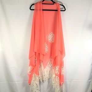 Coral Sheer Kimono Open Lace back and bottom OS